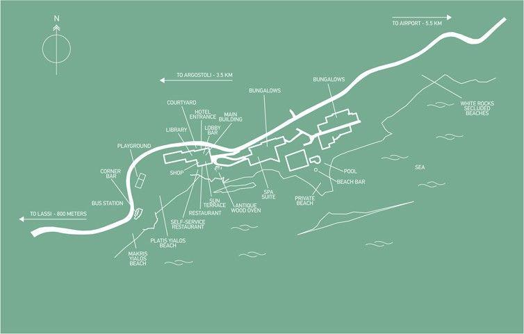 Map Directions White Rocks Kefalonia Hotel Bungalows Platis