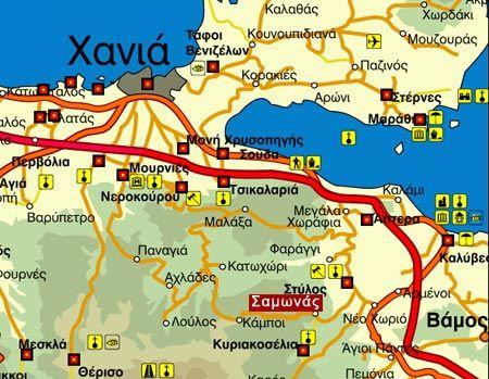 Map Directions Samonas Traditional Settlement Chania Crete