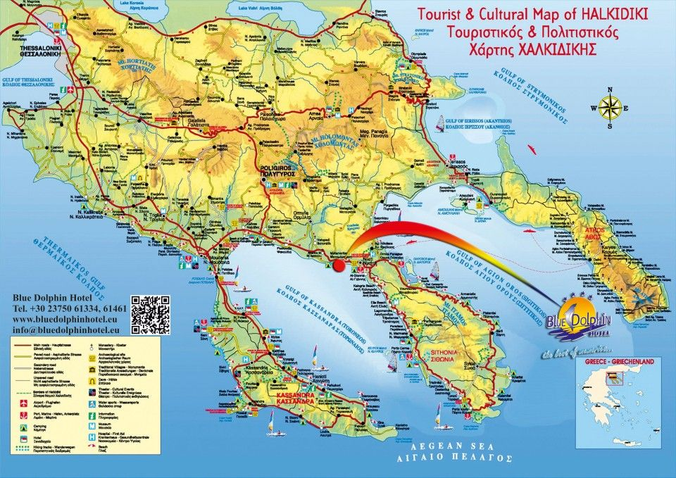 Map & directions - Blue Dolphin Hotel, Metamorfosi, Sithonia ...