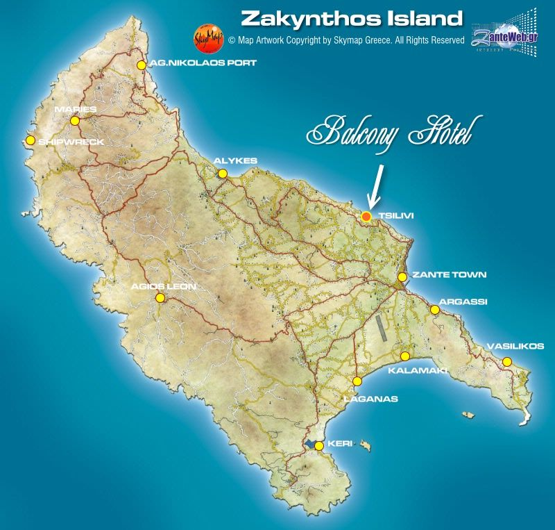 Map directions balcony hotel zakynthos zante hotel in tsilivi tsilivi beach gumiabroncs Choice Image