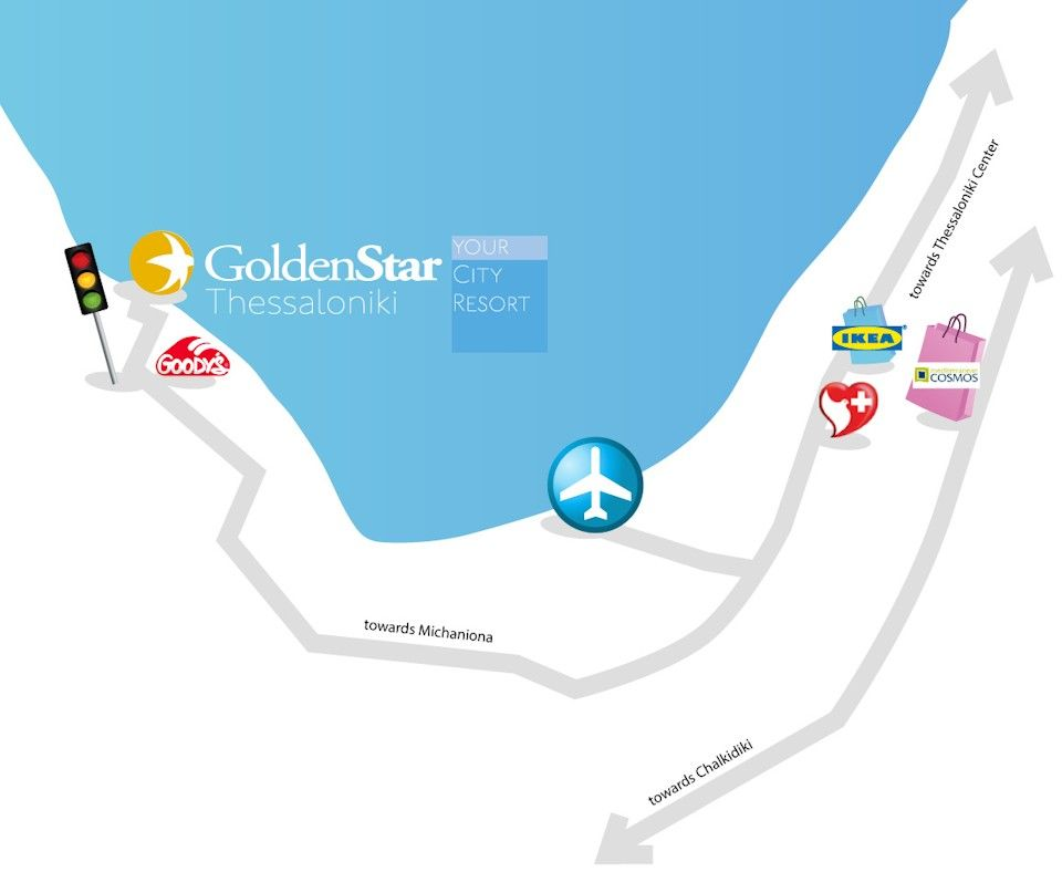 Map directions golden star city resort thessaloniki greece directions from the thessalonik skg airport to golden star city resort gumiabroncs Images