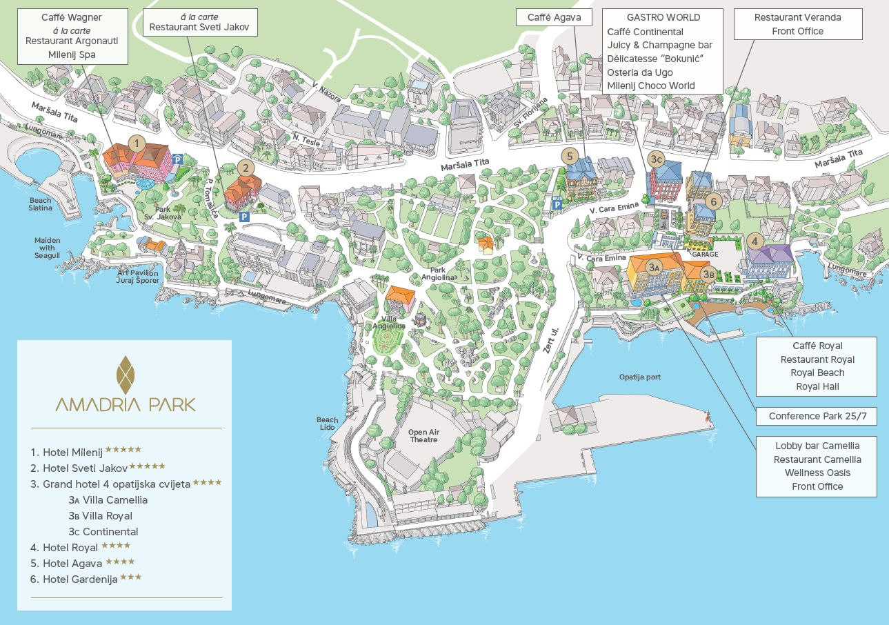 Map Directions Amadria Park Grand Hotel 4 Opatijska Cvijeta Beach Family Hotel Book Online