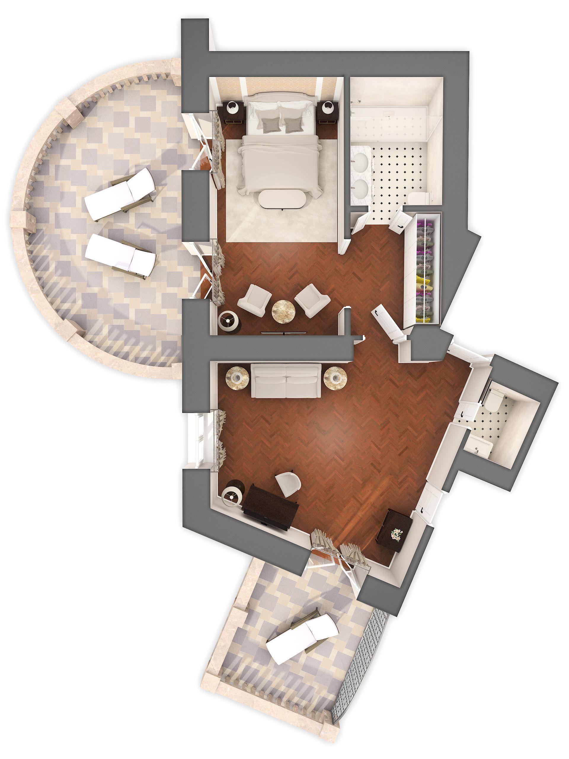 Sissi & Franz Joseph Suite 60 m² Pogled More i Balkon-6