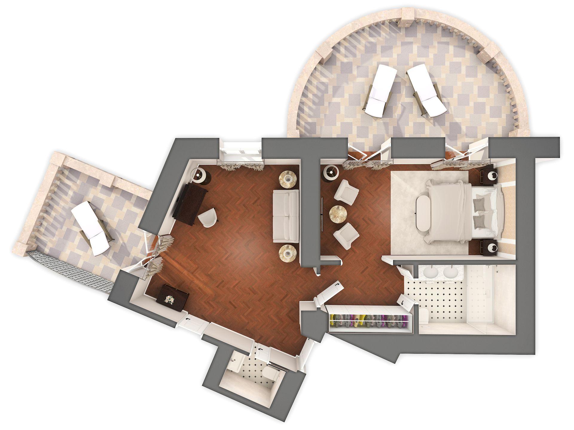 Sissi & Franz Joseph Suite 60 m² Pogled More i Balkon-7