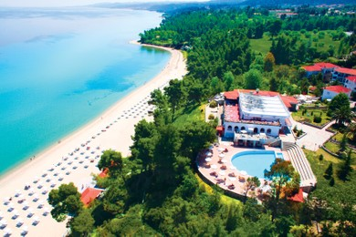 The Beach Of Alexander Great Hotel Is Designated With Blue Flag And